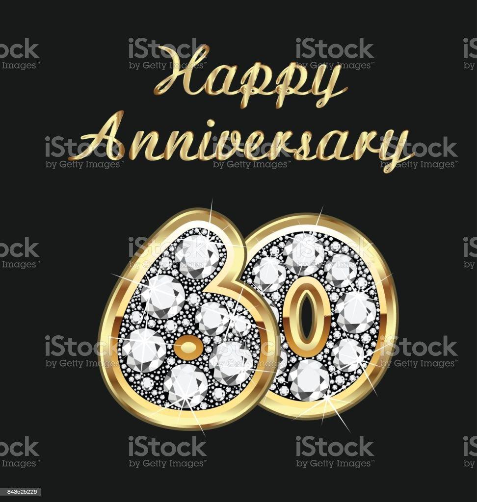 Anniversary 60th years birthday in gold and diamonds vector - illustrazione arte vettoriale