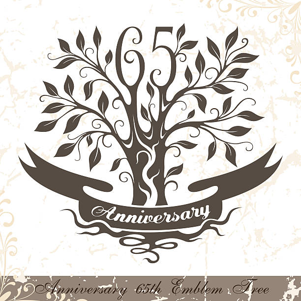 Anniversary 65th emblem tree in classic style. vector art illustration