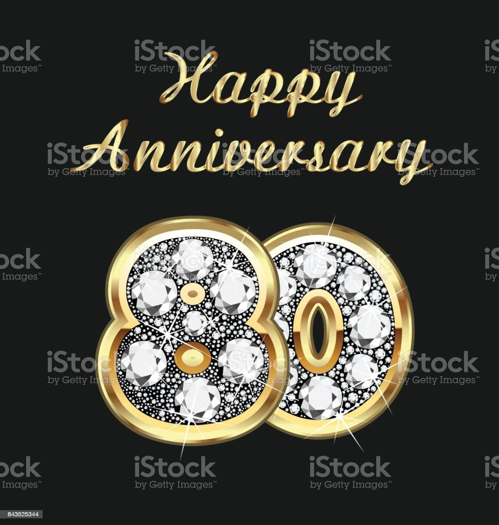 Anniversary 80th years birthday in gold and diamonds vector vector art illustration