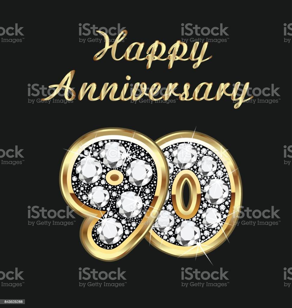 Jubiläum Geburtstag der 90. Jahre in Gold und Diamanten Vektor – Vektorgrafik