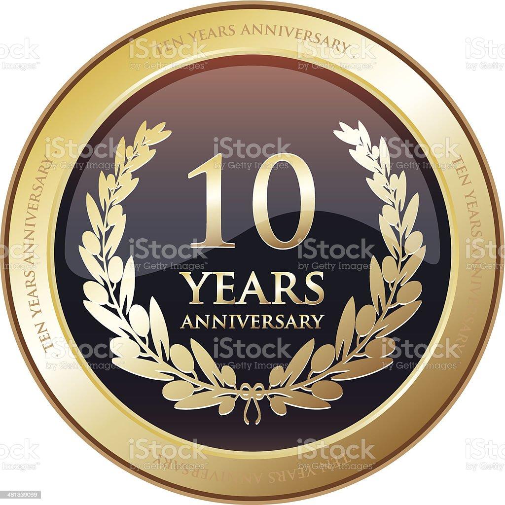 Anniversary Award - Ten Years vector art illustration
