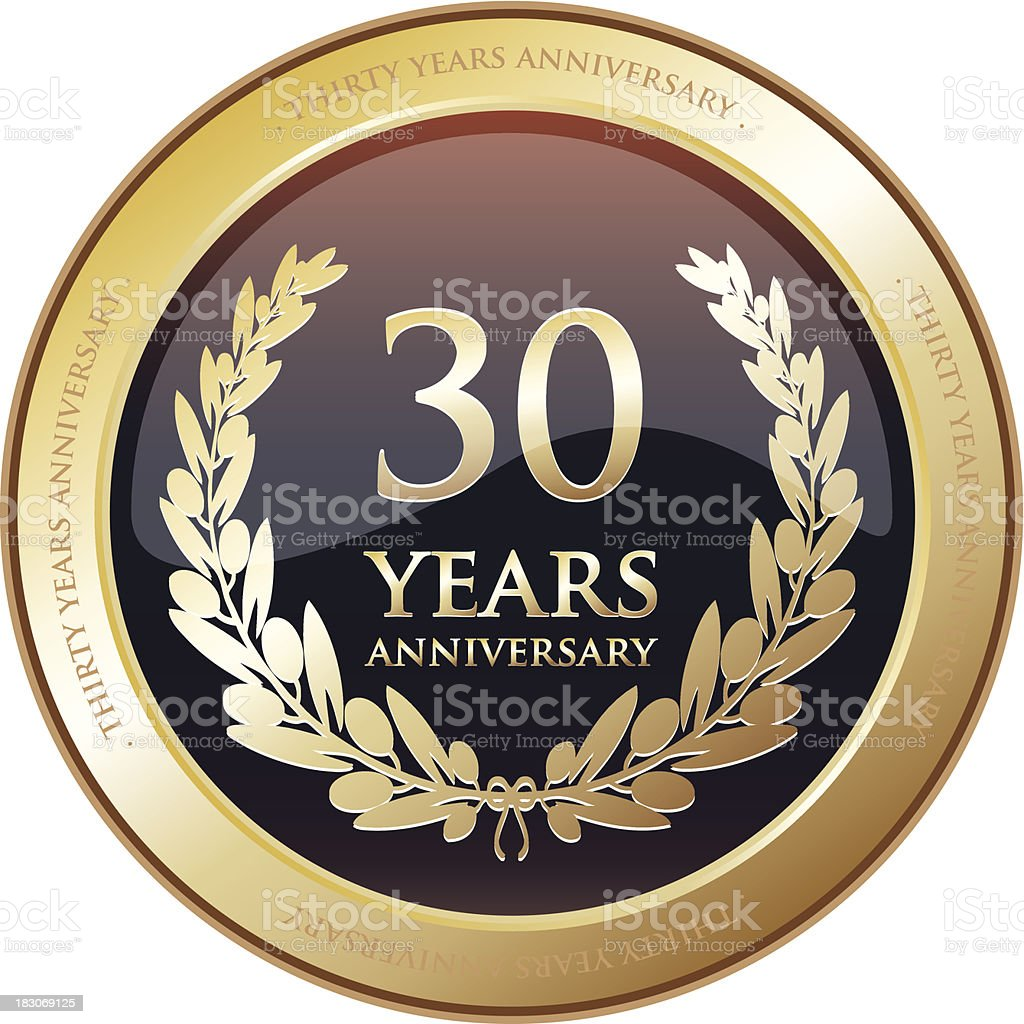 Anniversary Award - Thirty Years royalty-free stock vector art