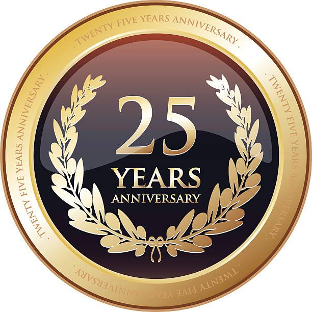 bildbanksillustrationer, clip art samt tecknat material och ikoner med anniversary award - twenty five years - 25 29 år