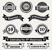 Anniversary Badge Collection Black and White Set