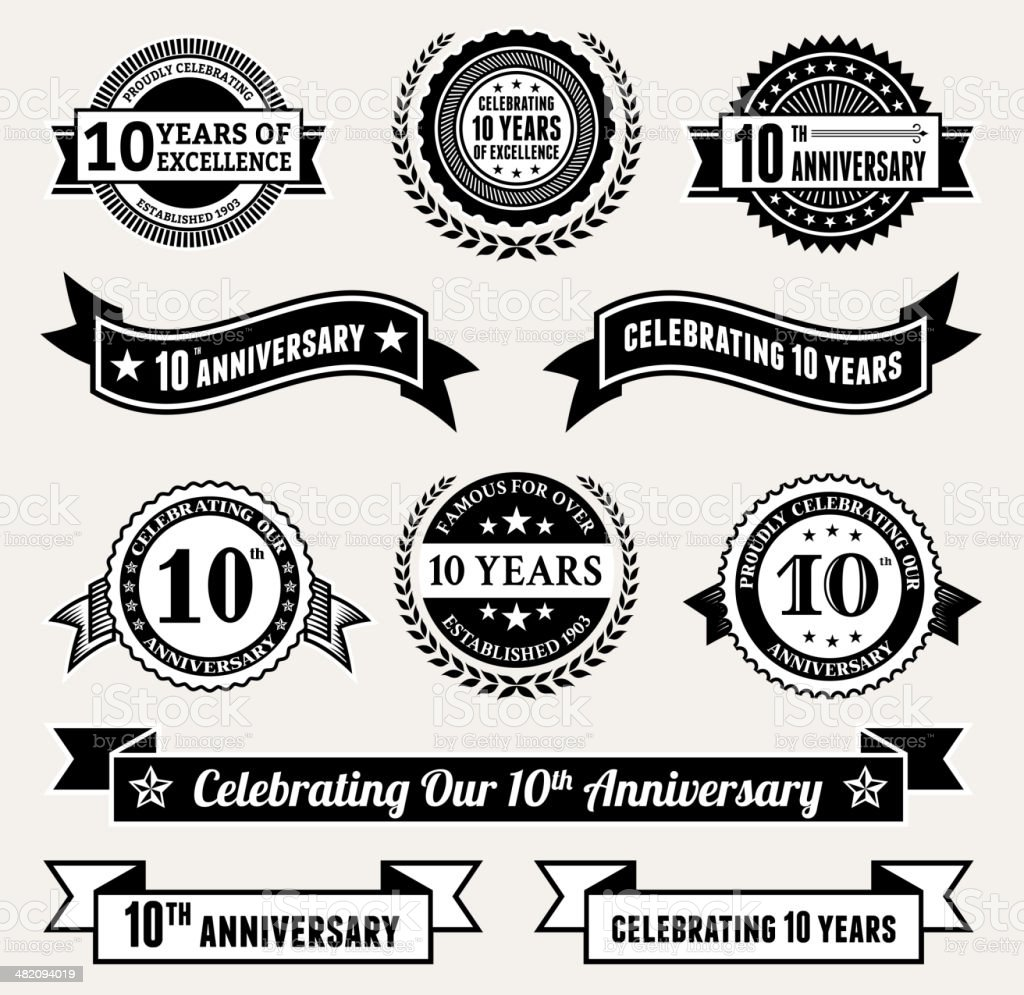 Anniversary Badge Collection black and white royalty-free vector icon set vector art illustration