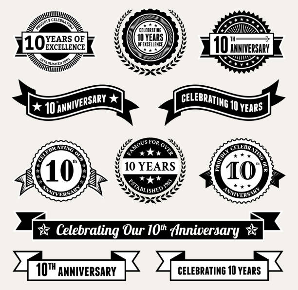 Anniversary Badge Collection black and white royalty-free vector icon set Anniversary Badge Collection Black and White Set 100th anniversary stock illustrations