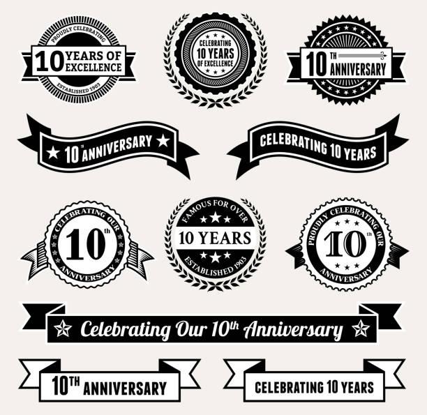 ilustrações, clipart, desenhos animados e ícones de aniversário coleção de distintivos preto e branco royalty-free vector conjunto de ícones - data especial