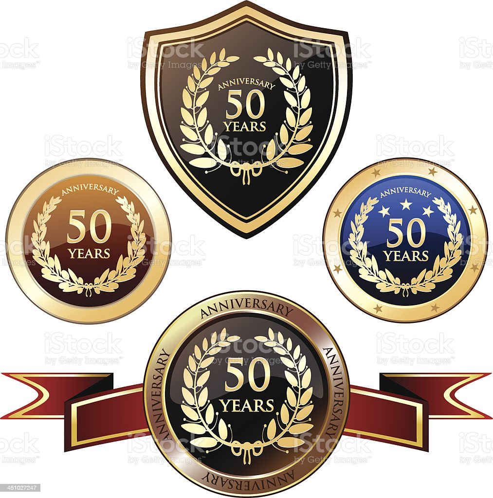 Anniversary Badge Heraldry - Fifty Years vector art illustration