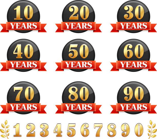 bildbanksillustrationer, clip art samt tecknat material och ikoner med anniversary badge set - 55 59 år