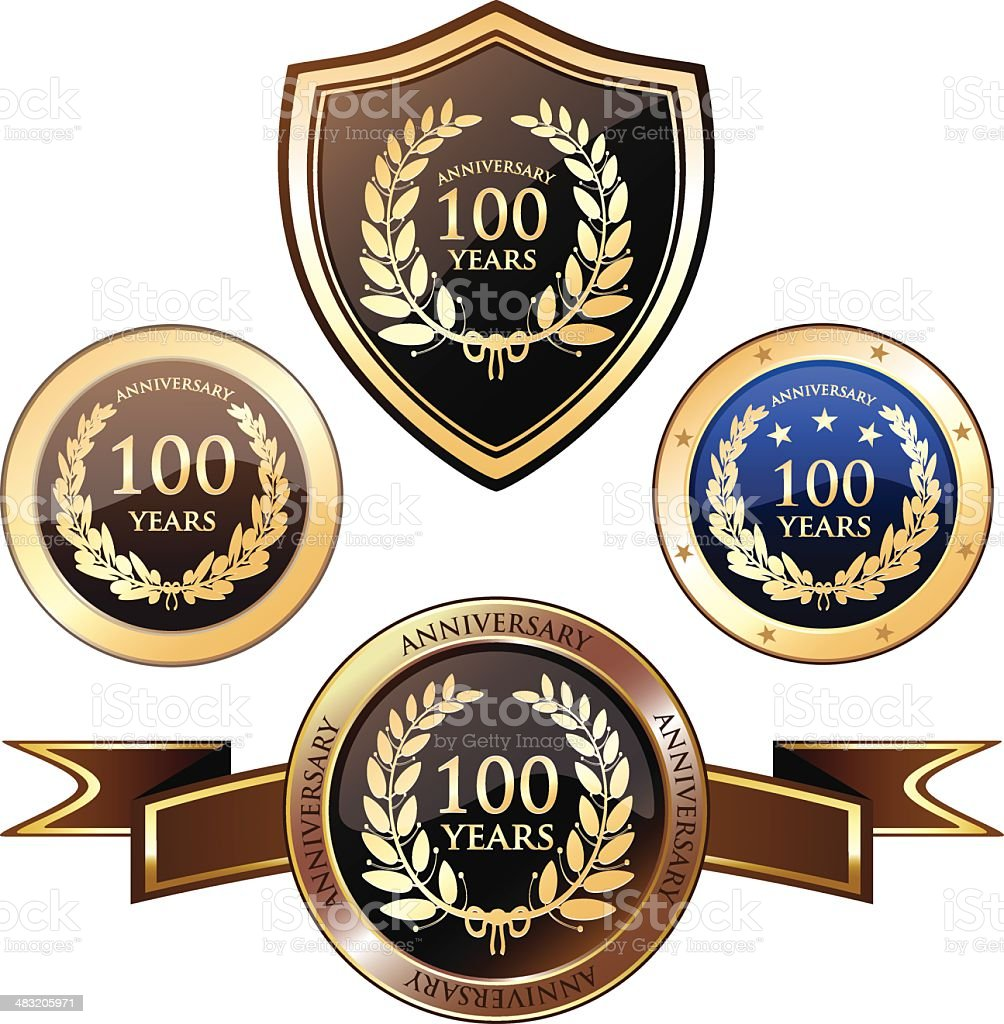 Badges-hundert Jahre Jubiläum – Vektorgrafik