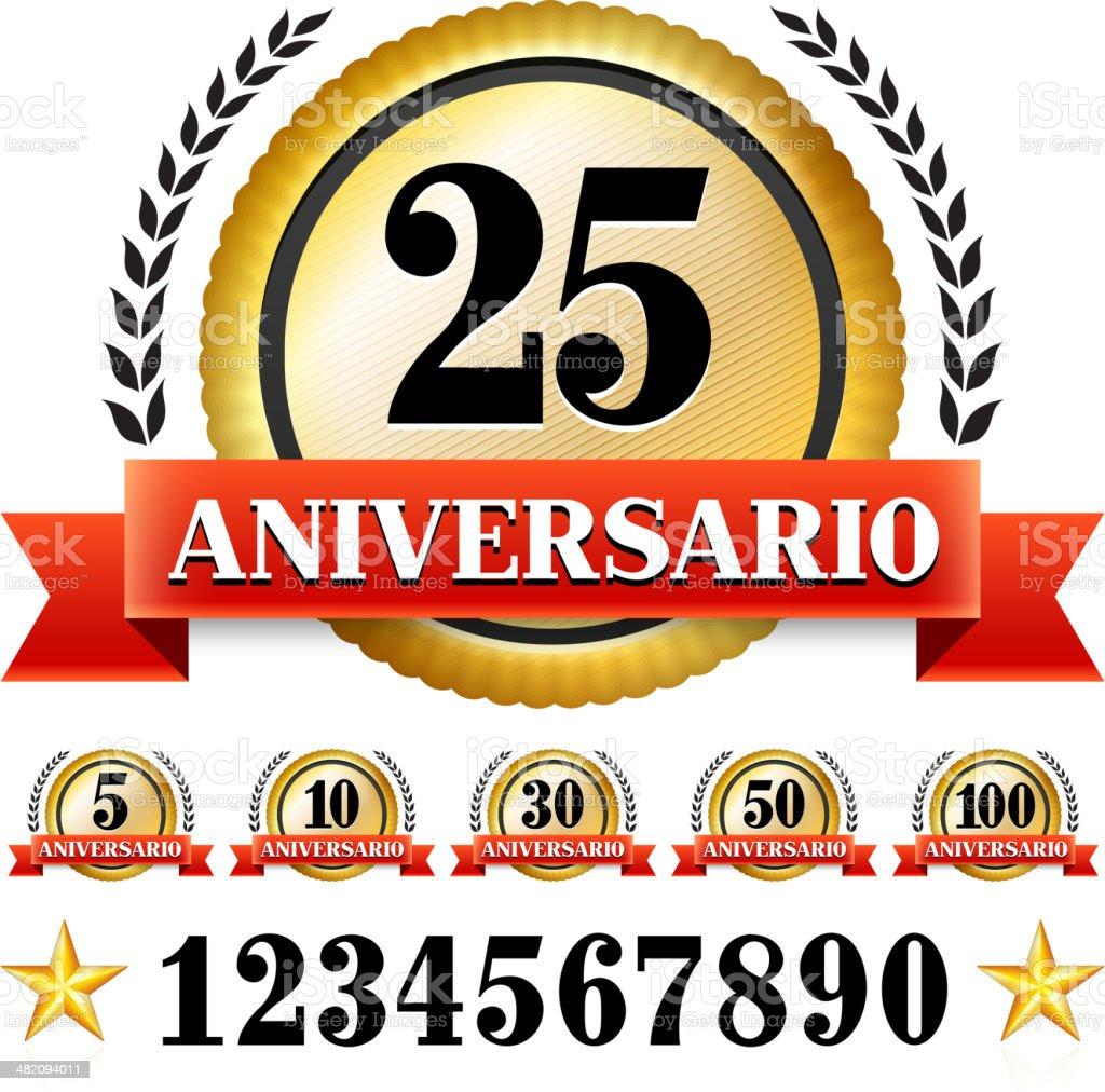Anniversary Badges in Spanish vector art illustration
