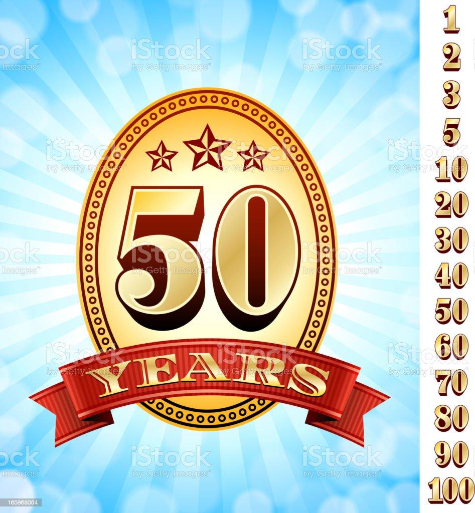 Anniversary Badges Red and Gold Collection Background - Royaltyfri 20-24 år vektorgrafik