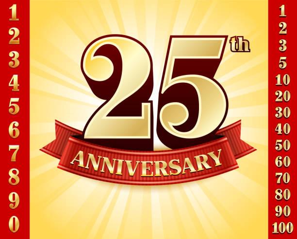 bildbanksillustrationer, clip art samt tecknat material och ikoner med anniversary badges red and gold collection background - 50 59 år