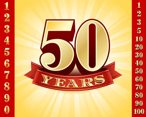 Emblemas de aniversário ouro e coleção de fundo vermelho - ilustração de arte em vetor