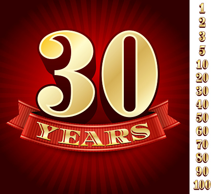 Anniversary Badges Red and Gold Collection Background