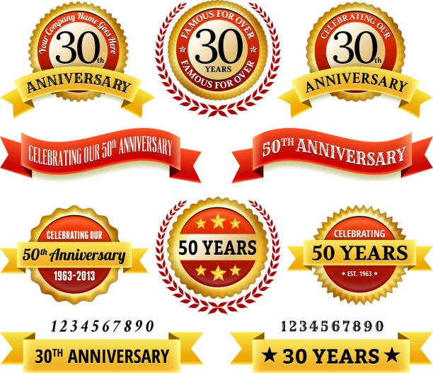 Anniversary Badges royalty free vector icon set Marriage Anniversary Badges Red and Gold Set 20 29 years stock illustrations