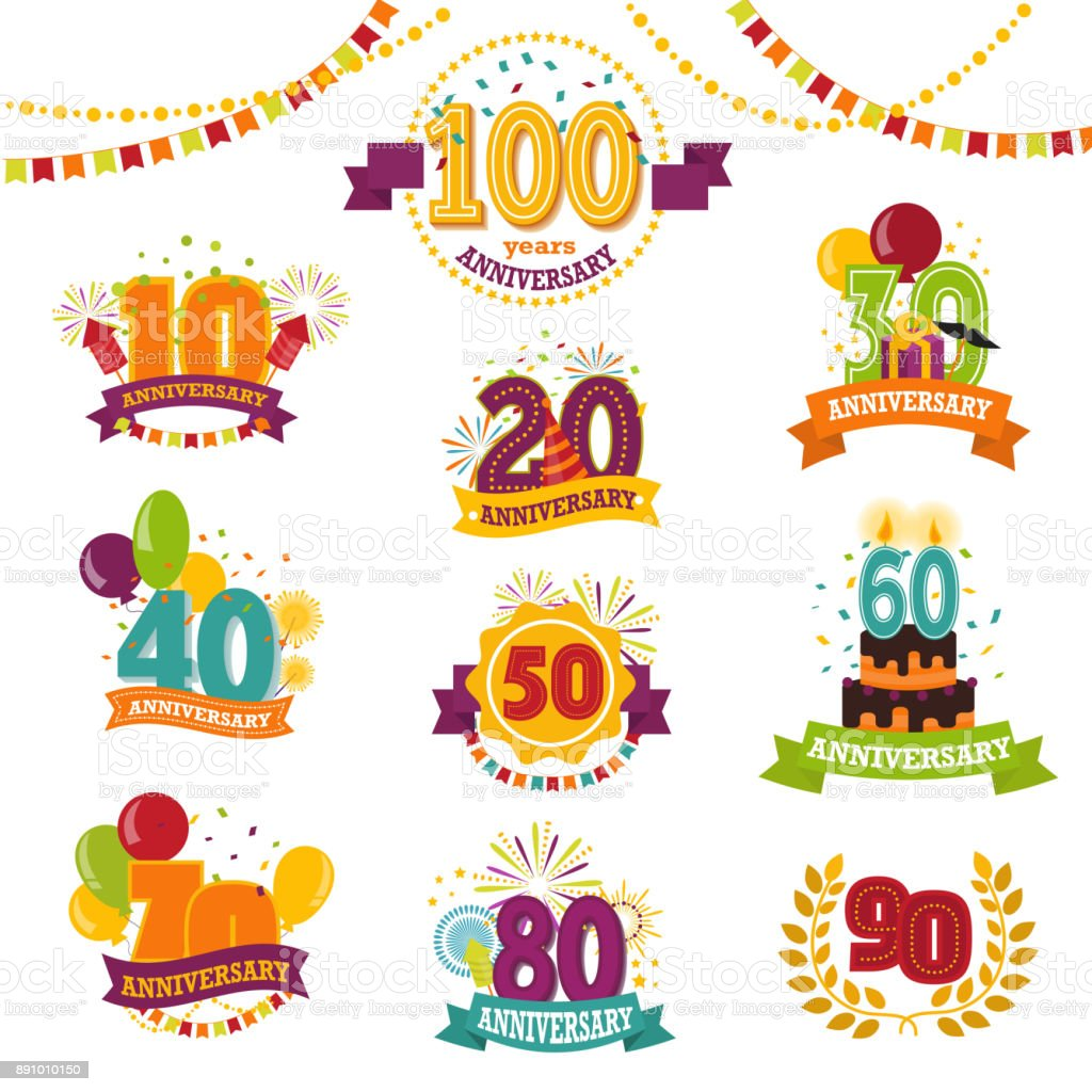 Anniversary Badges Set Vector Birthday Numbers Emblems Holiday