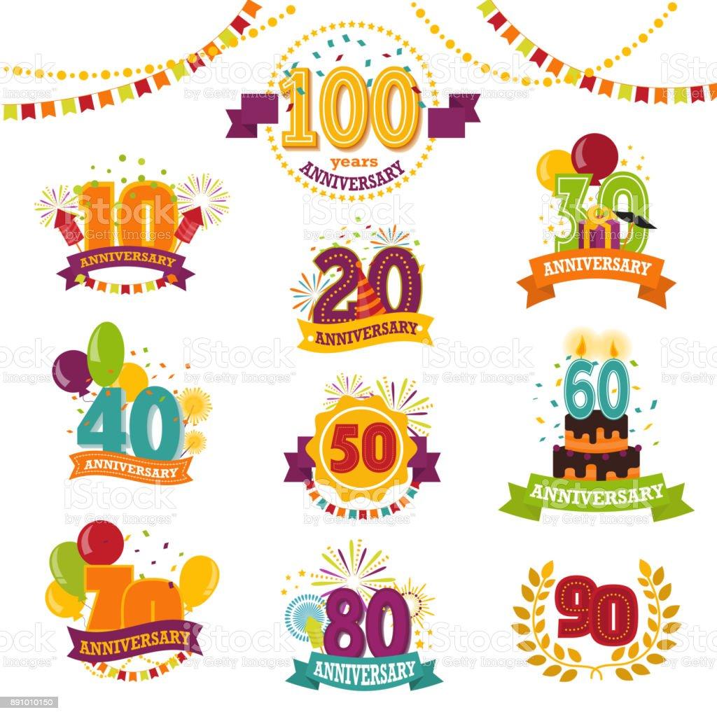 Tarjetas de aniversario conjunto letra de edad de la natalidad