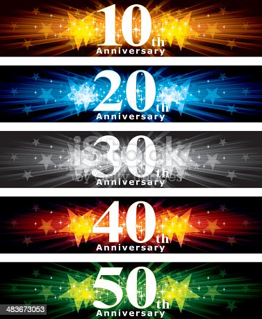 A vector illustration to show 10th to 50th years Anniversary banner design