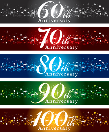 A vector illustration to show 60th to 100th years Anniversary banner design