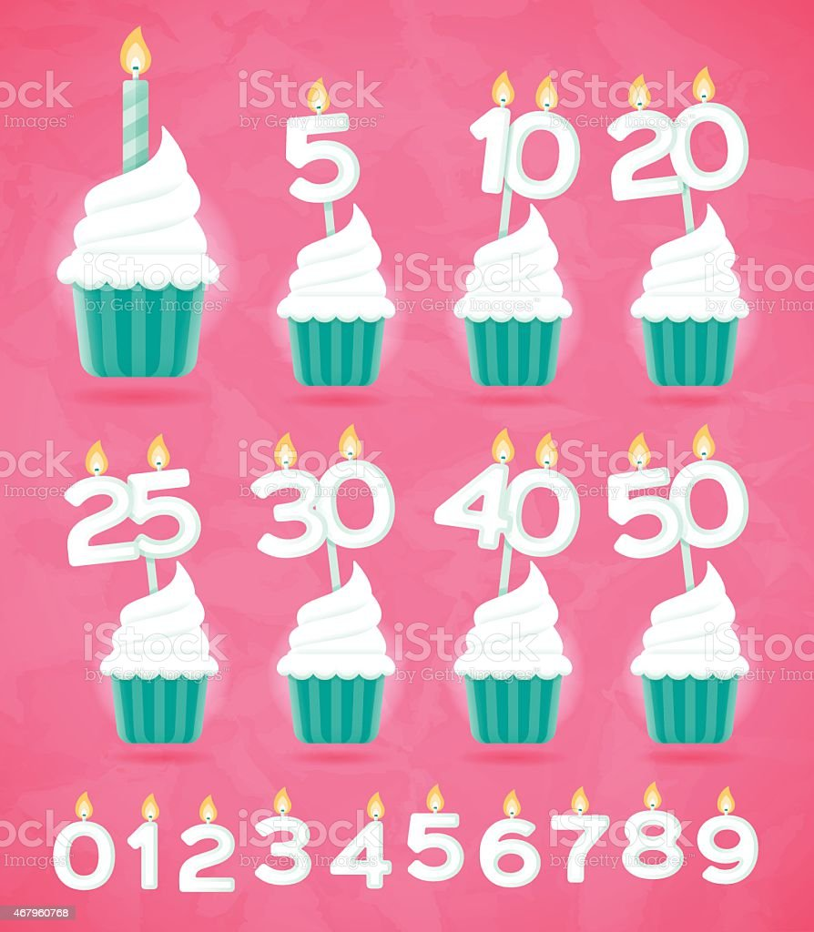 Anniversary Birthday or Celebration Cupcakes vector art illustration