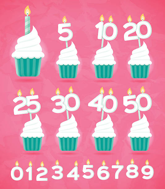 anniversary birthday or celebration cupcakes - happy birthday cake stock illustrations, clip art, cartoons, & icons