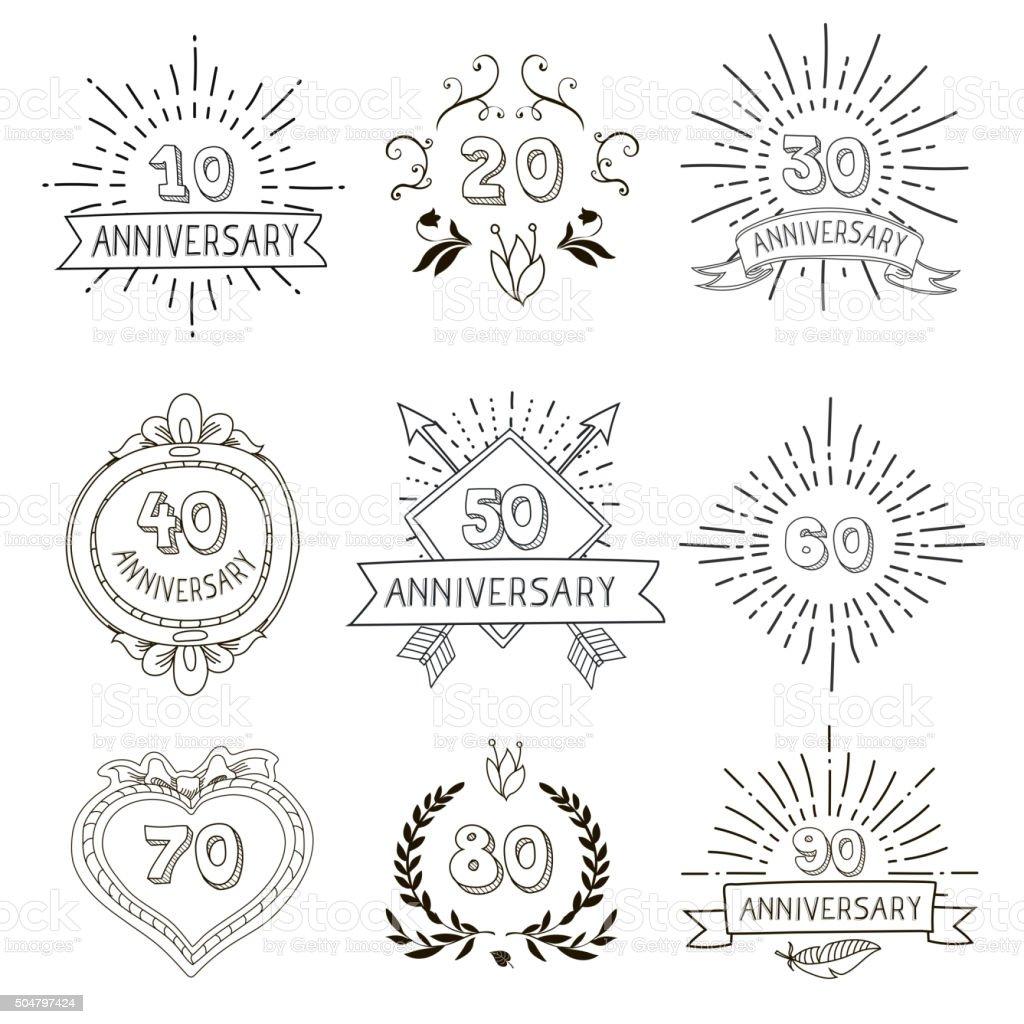 Emblemi anniversario compleanni allegro icone set per i buoni regali personalizzati - illustrazione arte vettoriale