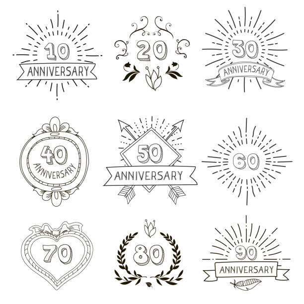Anniversary birthdays festive emblems icons set for personalized gifts cards vector art illustration