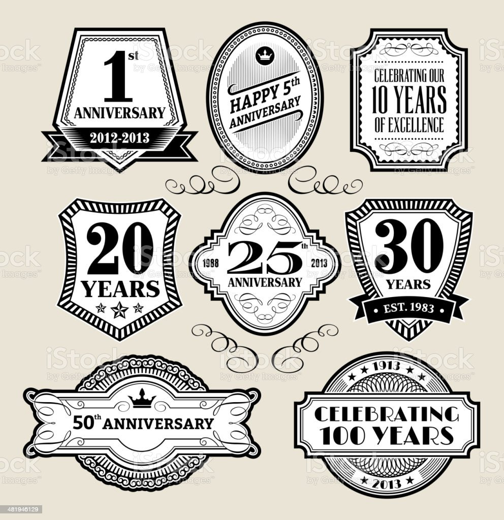 Anniversary Black & White Badge Collection royalty-free anniversary black white badge collection stock vector art & more images of 10th anniversary