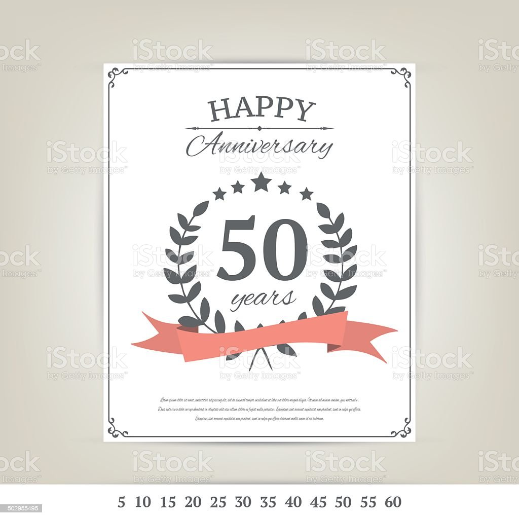Anniversary card template vector art illustration
