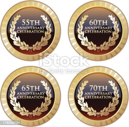 Celebration medals of the 55th, 60th, 65th and 70th anniversary decorated with meanders.