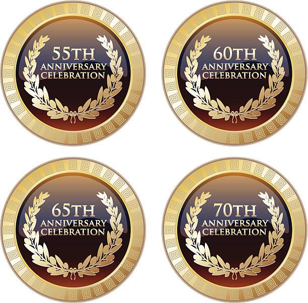 bildbanksillustrationer, clip art samt tecknat material och ikoner med anniversary celebration award collection - 50 59 år