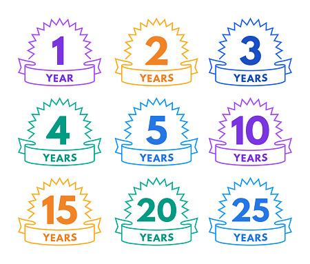 Anniversary Celebration Badge Line Design Elements