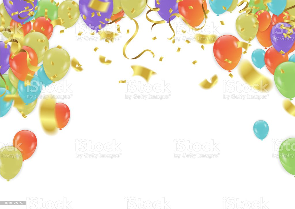 anniversary celebration design with balloons and confetti colorful