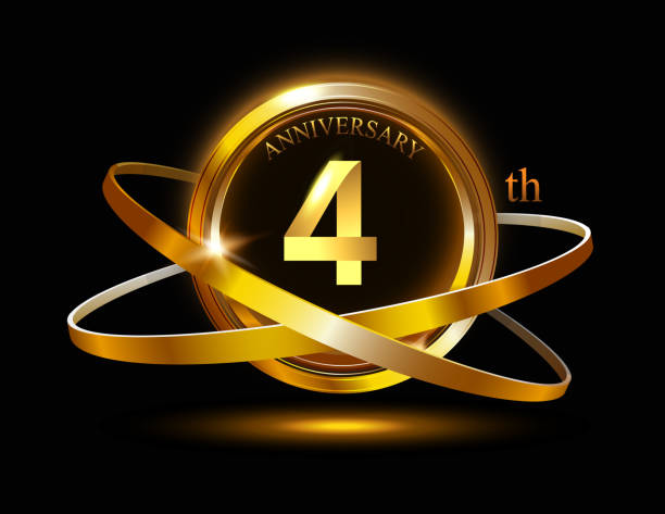 4 Anniversary Celebration Design.invitation card, and greeting card. elegance golden color isolated on black background vector art illustration