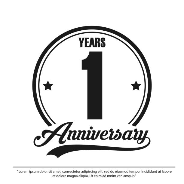 anniversary celebration emblem 1st year. anniversary logo label, black and white stamp isolated, vector illustration template design for celebration greeting card and invitation card anniversary celebration emblem 1st year. anniversary logo label, black and white stamp isolated, vector illustration template design for celebration greeting card and invitation card anniversary icons stock illustrations