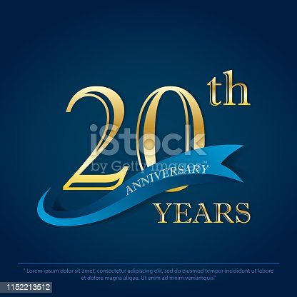anniversary celebration emblem 20th years. anniversary golden logo with blue ribbon on dark blue background, vector illustration template design for celebration greeting and invitation card