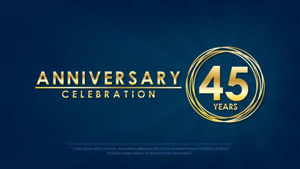 anniversary celebration emblem 45th years. anniversary logo with ring and elegance golden on dark blue background, vector illustration template design for celebration greeting and invitation card anniversary celebration emblem 45th years. anniversary logo with ring and elegance golden on dark blue background, vector illustration template design for celebration greeting and invitation card greeting card with the 45th anniversary stock illustrations
