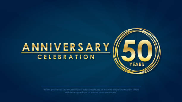 anniversary celebration emblem 50th years. anniversary logo with ring and elegance golden on dark blue background, vector illustration template design for celebration greeting and invitation card vector art illustration