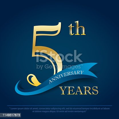 anniversary celebration emblem 5th year anniversary golden logo with blue ribbon on dark blue background, vector illustration template design for celebration greeting card and invitation