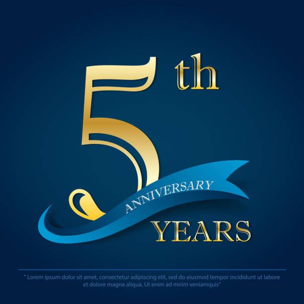 5 Years Anniversary Celebration Laurel Wreath Stock-Vektorgrafik  (Lizenzfrei) 1606435273