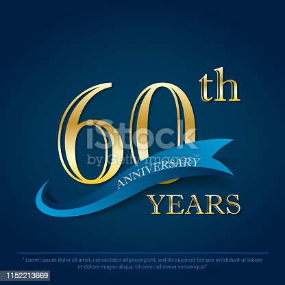 anniversary celebration emblem 60th years. anniversary golden logo with blue ribbon on dark blue background, vector illustration template design for celebration greeting and invitation card