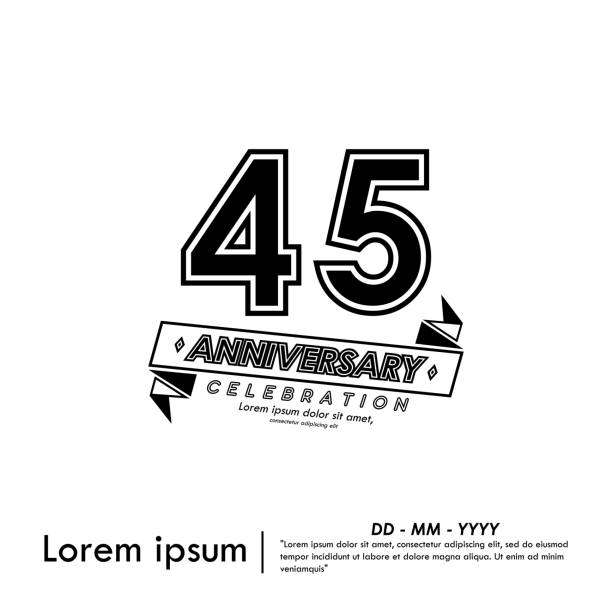 45 Anniversary celebration emblem. anniversary with ribbon black and white stamp isolated, vector illustration template design for web, celebration card & invitation card 45 Anniversary celebration emblem. anniversary with ribbon black and white stamp isolated, vector illustration template design for web, celebration card & invitation card greeting card with the 45th anniversary stock illustrations