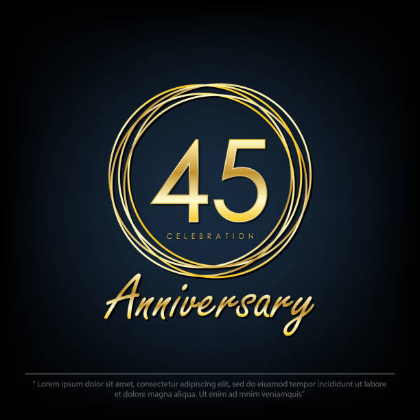 45 Anniversary celebration emblem. elegance golden anniversary logo with rings on black background, vector illustration template design for web, flyers, greeting card & invitation card 45 Anniversary celebration emblem. elegance golden anniversary logo with rings on black background, vector illustration template design for web, flyers, greeting card & invitation card greeting card with the 45th anniversary stock illustrations
