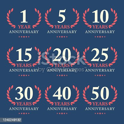 Vector of anniversary award emblem for 1, 5, 10, 15, 20, 25, 30, 40 and 50 years with dark blue background. illustration template design for web, greeting card and invitation card. EPS Ai 10 file format.