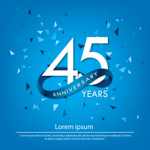 45 anniversary celebration emblem. white anniversary logo isolated with blue circle ribbon. vector illustration template design for web, poster, flyers, greeting card and invitation card 45 anniversary celebration emblem. white anniversary logo isolated with blue circle ribbon. vector illustration template design for web, poster, flyers, greeting card and invitation card greeting card with the 45th anniversary stock illustrations