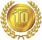 anniversary celebration gold icon
