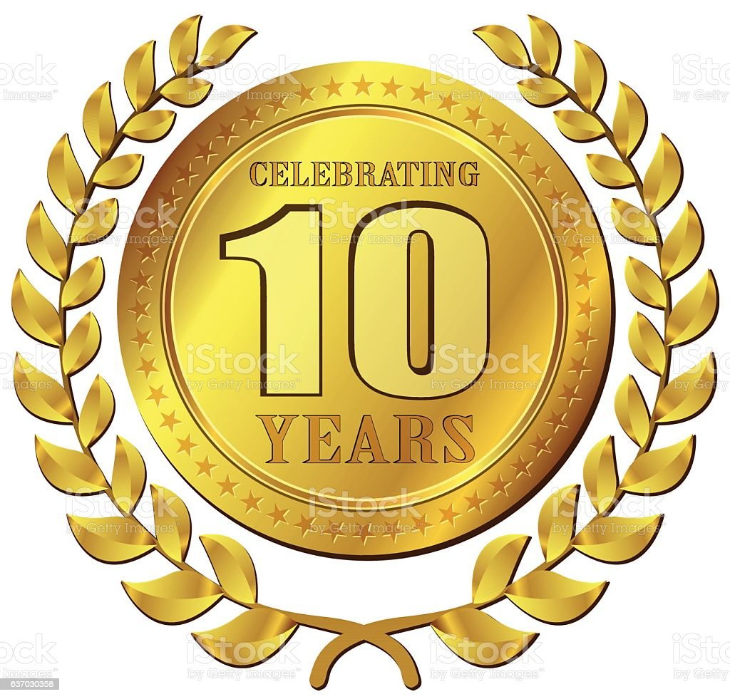 anniversary celebration gold icon vector art illustration