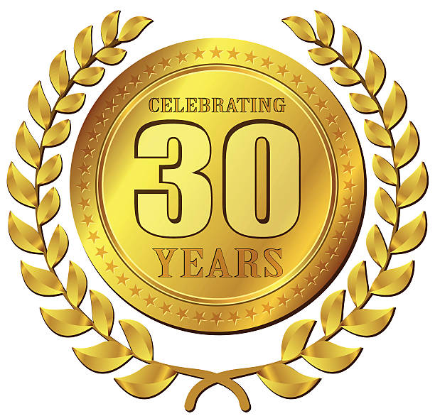 jubiläumsfeier gold-ikone - 30 34 jahre stock-grafiken, -clipart, -cartoons und -symbole