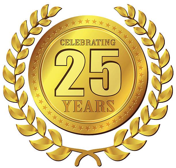 bildbanksillustrationer, clip art samt tecknat material och ikoner med anniversary celebration gold icon - 25 29 år